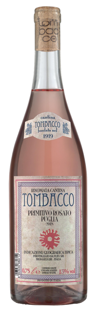 Tombacco Primitivo Rosato 2018 0,75l 13%