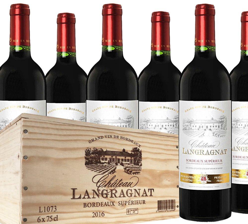 Chateau Langranat Bordeaux Superior 6×0.75l 4,5l 14% Dřevěný box